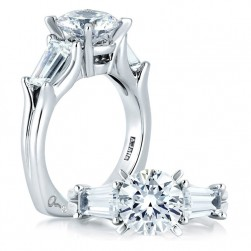 A Jaffe Platinum Three-Stone Engagement Ring MES263