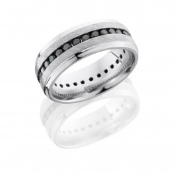 Lashbrook PLAT8B(S)ETERNITYBLKDIA ANGLE SATIN-POLISH Precious Metal Wedding Ring or Band