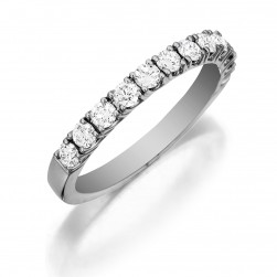 Henri Daussi R12 Band with a Single Line of Prong Set Diamonds