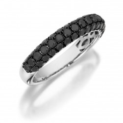 Henri Daussi R3-4 Triple Row Pave Band of Black Diamonds