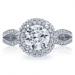 HT2518RD75 Tacori Crescent Platinum Engagement Ring