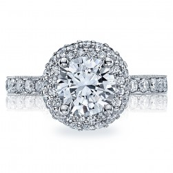 HT2520RD65 Tacori Crescent Platinum Engagement Ring