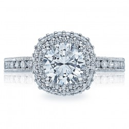 HT2523CU7 Tacori Crescent Platinum Engagement Ring
