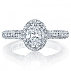 Tacori HT2550OV75X55 Platinum Classic Crescent Engagement Ring