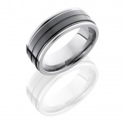 Lashbrook TCR8422 SATIN-POLISH Tungsten Ceramic Wedding Ring or Band