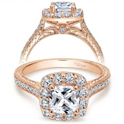 Taryn 14k Rose Gold Cushion Cut Halo Engagement Ring TE7500K44JJ