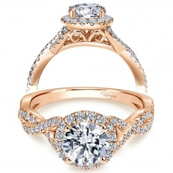 Taryn 14k Rose Gold Round Halo Engagement Ring TE7543K44JJ