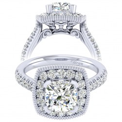 Taryn 14k White Gold Cushion Cut Perfect Match Engagement Ring TE039C8AKW44JJ