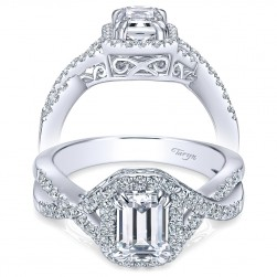 Taryn 14k White Gold Emerald Cut Halo Engagement Ring TE5801W44JJ