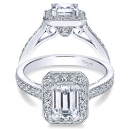 Taryn 14k White Gold Emerald Cut Halo Engagement Ring TE7528W44JJ