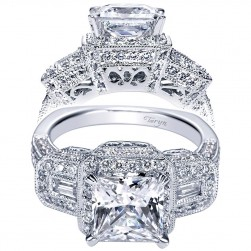 Taryn 14k White Gold Princess Cut 3 Stones Halo Engagement Ring TE4243W44JJ