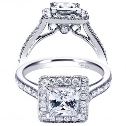 Taryn 14k White Gold Princess Cut Halo Engagement Ring TE7526W44JJ