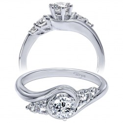 Taryn 14k White Gold Round Bypass Engagement Ring TE910064W44JJ