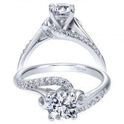 Taryn 14k White Gold Round Bypass Engagement Ring TE910174W44JJ