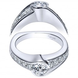 Taryn 14k White Gold Round Bypass Engagement Ring TE96085W44JJ