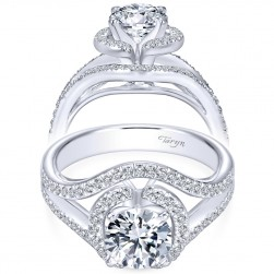 Taryn 14k White Gold Round Double Halo Engagement Ring TE5348W44JJ