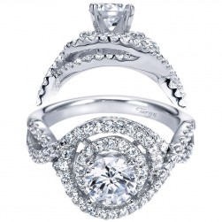 Taryn 14k White Gold Round Double Halo Engagement Ring TE8355W44JJ