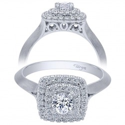 Taryn 14k White Gold Round Double Halo Engagement Ring TE910159W44JJ