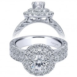 Taryn 14k White Gold Round Double Halo Engagement Ring TE99008R0W44JJ