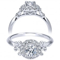 Taryn 14k White Gold Round Halo Engagement Ring TE911777R0W44JJ