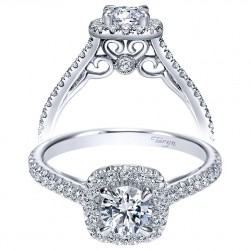 Taryn 14k White Gold Round Halo Engagement Ring TE98520W44JJ