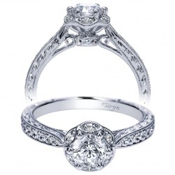Taryn 14k White Gold Round Halo Engagement Ring TE98714W44JJ