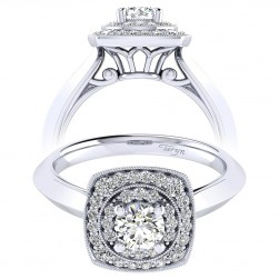 Taryn 14k White Gold Round Perfect Match Engagement Ring TE001A2AFW44JJ