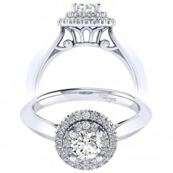 Taryn 14k White Gold Round Perfect Match Engagement Ring TE001A2AIW44JJ