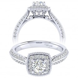 Taryn 14k White Gold Round Perfect Match Engagement Ring TE002A2ABW44JJ