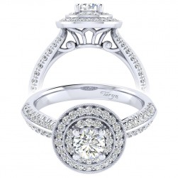Taryn 14k White Gold Round Perfect Match Engagement Ring TE002A2AHW44JJ
