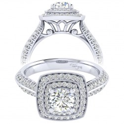 Taryn 14k White Gold Round Perfect Match Engagement Ring TE002B3AGW44JJ