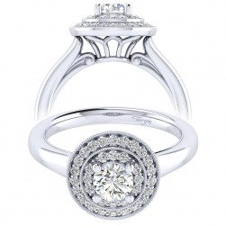 Taryn 14k White Gold Round Perfect Match Engagement Ring TE009A2AHW44JJ