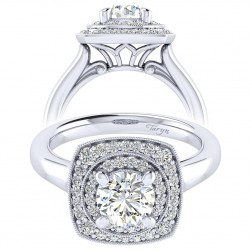 Taryn 14k White Gold Round Perfect Match Engagement Ring TE009B4AFW44JJ