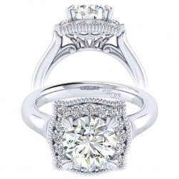 Taryn 14k White Gold Round Perfect Match Engagement Ring TE009C8AAW44JJ