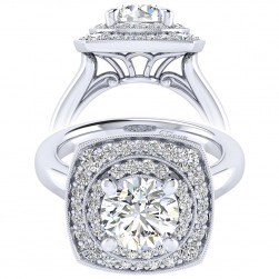 Taryn 14k White Gold Round Perfect Match Engagement Ring TE009C8AFW44JJ