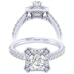 Taryn 14k White Gold Round Perfect Match Engagement Ring TE039A2AEW44JJ