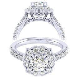 Taryn 14k White Gold Round Perfect Match Engagement Ring TE039B4ACW44JJ