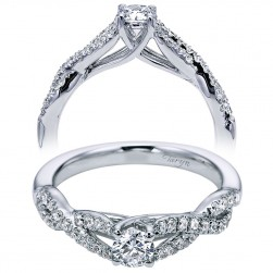 Taryn 14k White Gold Round Twisted Engagement Ring TE96105W44JJ
