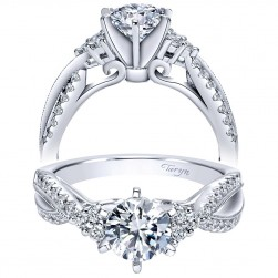 Taryn 14k White Gold Round Twisted Engagement Ring TE98146W44JJ