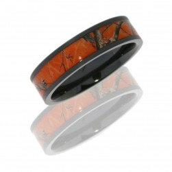 Lashbrook Z6F14/RTAP-ORANGE BEADBLAST Camo Wedding Ring or Band
