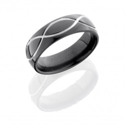Lashbrook Z7D/MINF SILVER-BLACK POLISH Zirconium Wedding Ring or Band