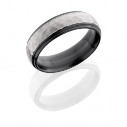 Lashbrook Z7DGE HAMMER SILVER-POLISH Zirconium Wedding Ring or Band