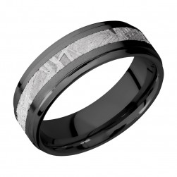 Lashbrook Z7FGE13/METEORITE Zirconium Wedding Ring or Band
