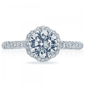 HT2547RD7 Platinum Tacori Classic Crescent Engagement Ring