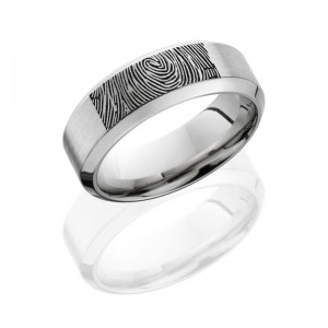 Lashbrook CC8HB/LCVFINGERPRINT SATIN-POLISH Cobalt Chrome Wedding Ring or Band