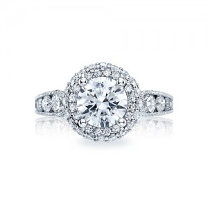 HT2521RD75 Tacori Crescent Platinum Engagement Ring