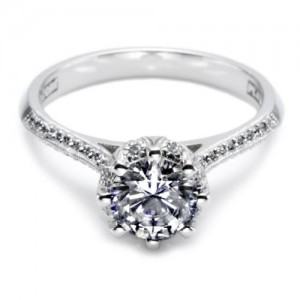 Tacori Platinum Solitaire Engagement Ring 2504RDP45