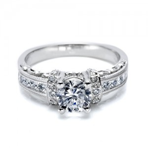 Tacori Platinum Hand Engraved Engagement Ring HT2196