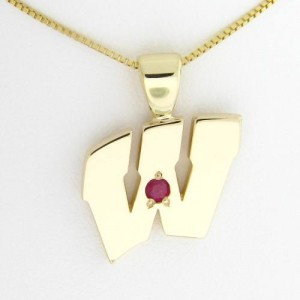 "UW Motion ""W"" 14 Kt Yellow Gold Pendant - Extra Large with Ruby"