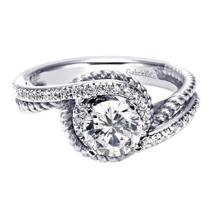 Gabriel 14 Karat Contemporary Engagement Ring ER5360W44JJ